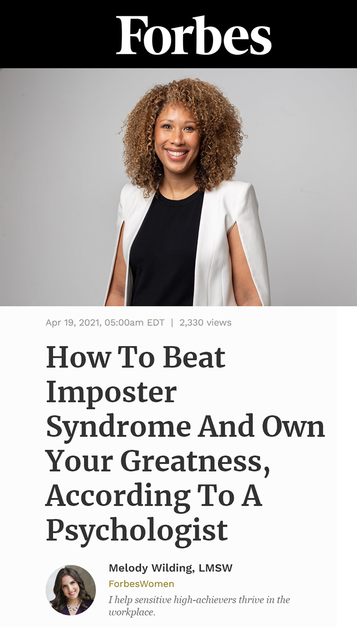 Forbes Article About How To Beat Impostor Syndrome